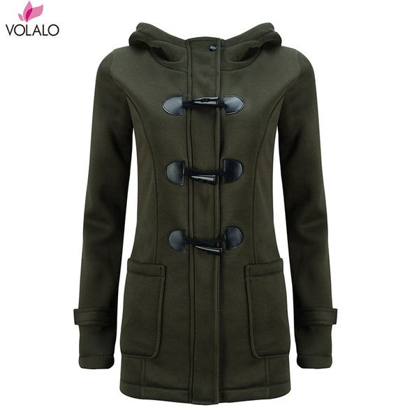 VOLALO Womens Winter Fashion Outdoor Warm Wool Blended Classic Pea Coat Jacket Women Horn Button With Zipper Clothes Hooded
