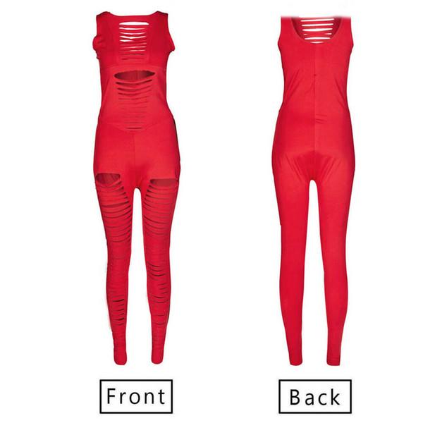 Trendy Seksi Kadın giyim Streç Delik katı Leotard Romper Kolsuz yuvarlak boyun Polyester Tulum bir adet