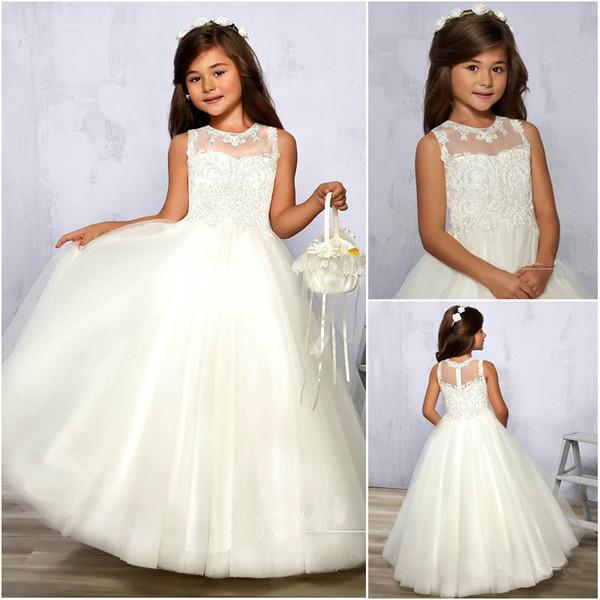 Vente en gros Designer Flower Girl Robes bal Tulle Illusion Jewel décolleté Zipper Retour dentelle perlée Filles Robes de soirée F575