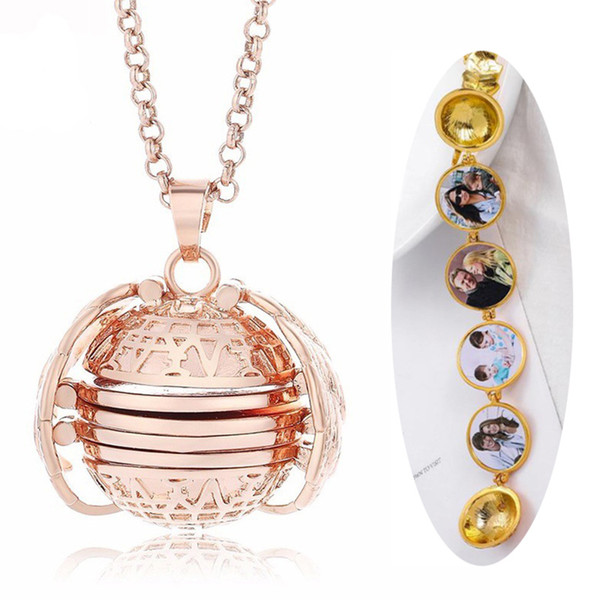 2019 Personalized Expanding Photo Locket Necklaces Pendant Women Fashion Gold Angel Wings Metal Round Ball Necklace Jewelry Gift