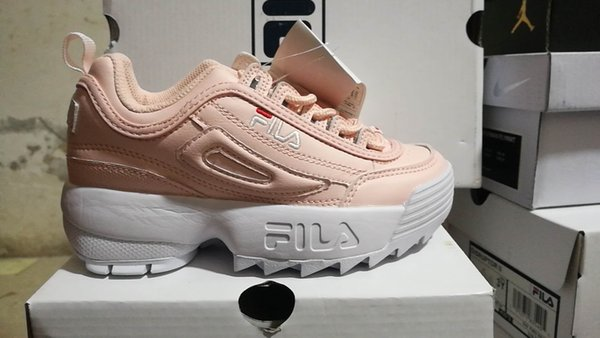2019 TOP FILA Kids Disruptors 2 Sawtooth White Pink Kid Boys Girl FILE  Designer Sports Platform Sneakers Running Trainer Chaussures Shoes 28 35  From ...