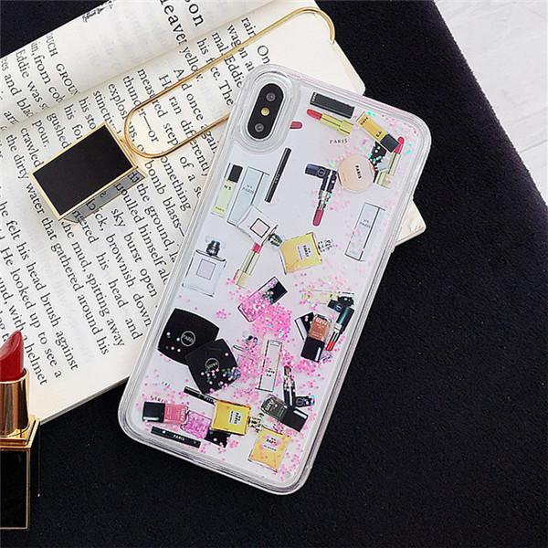 3D Ruj makyaj Durumda IPhone X XS MAX XR 8 8 Artı 7 Dinamik Quicksand Sıvı I Telefon için 7 7 Artı 6 6 s Durumlarda Lüks Tasarımcı Kapak