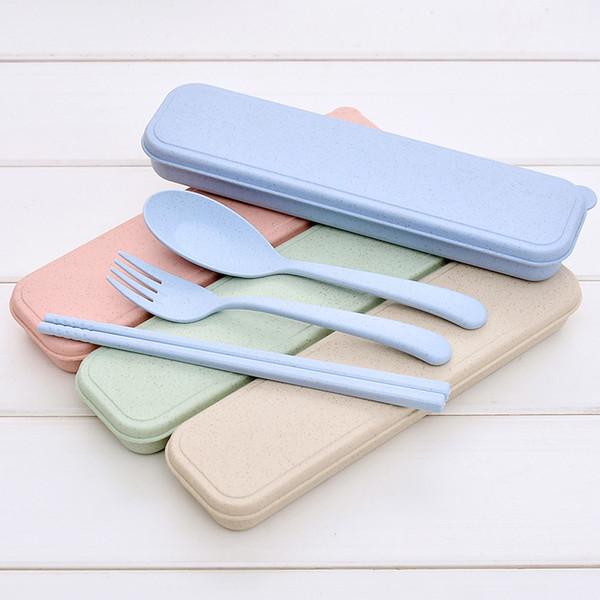 best selling Nordic Style wheatstraw portable tableware travel dinnerware Eco-friendly dinner set Environmental Case Fork Spoon Set Cutlery