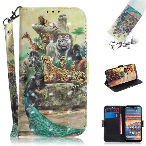Flip Cover Wallet Stand For Nokia4.2 Case 3D Painting PU Leather Soft Silicon Covers Mobile Phone Bags