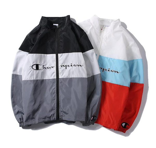 New 2019 fashionable men's double embroidered jacket fashion sports jacket letter embroidered collar youth jacket