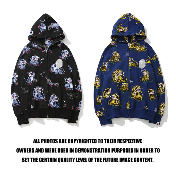 19SS Autumn Winter New Lover Tiger Animal Print sweater Hoodies Teenager Loose Casual Cardigan Full Zipper Hoodies