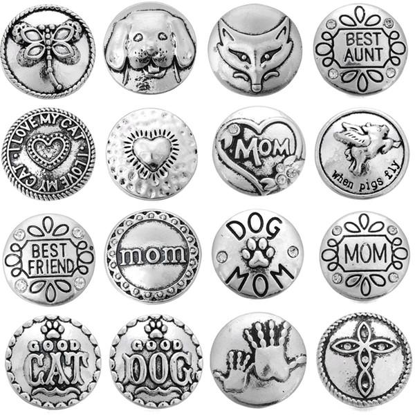 5pcs/lot Metal Snap Button 18mm Mom Dog Snap Button For Snaps Bracelet Jewelry DIY Accessories