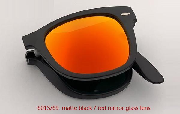 601S / 69 ماتي أسود / أحمر عدسة مرآة