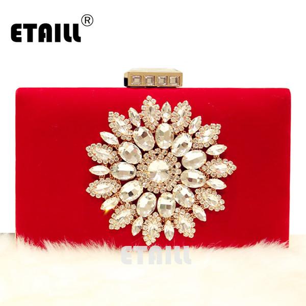 ETAILL Designer di lusso Diamond Flowers Borsa da sera Red Black Velour Clutch Purse Wedding Bride Party Hand Bag Chain Shoulder