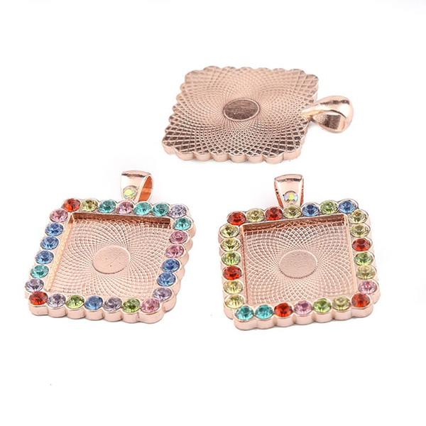 crystal rhinestone cabochon settings blanks 20*20mm square pendant base trays setting diy rose gold silver blank jewelry bezels