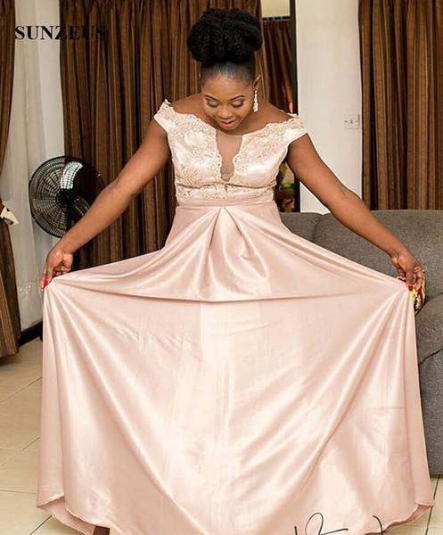Compre Perla Rosa Vestidos De Noche Largo Fuera De La Tapa Del Hombro Mangas Apliques Vestidos Formales Vestido De Fiesta De Las Mujeres Africanas