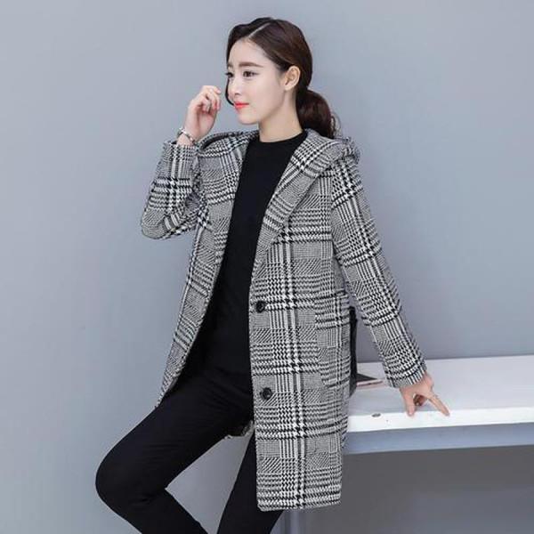 2019 Nuevo otoño invierno abrigo de lana mujer casual sombrero con capucha negro blanco a cuadros meidum abrigos largos moda estilo coreano prendas de vestir exteriores
