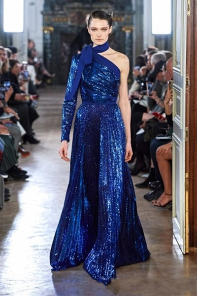 Gorgeous 2020 Elie Saab Blue Sequined Evening Dresses Open Back One Shoulder Party Gowns Arabic Pageant Celebrity Prom Dress