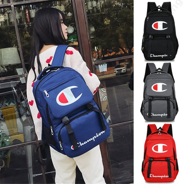 Champions Backpack Fashion Laptop Backpacks Preppy Style Kids School Shoulder Bag Men Women Zipper Travel Bags 44*30*12cm 4 Color 2019 C3192