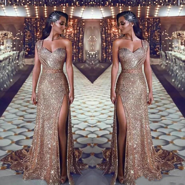Sexy High Slit Prom Dresses 2019 Sparkly Sequins Saudi Arabia Prom Gowns One Shoulder Sweep Train Formal Party Dresses With Beaded China