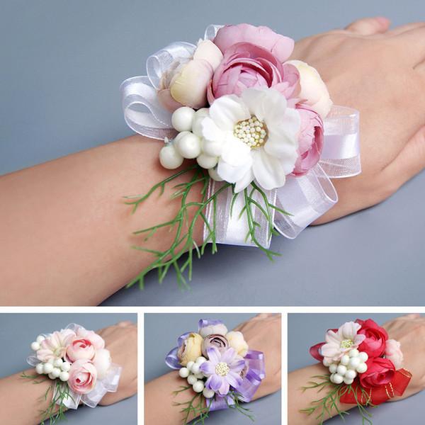 Corsage de mariée Artificielle Fleur De Mariage Dentelle Feuilles Décoration Demoiselle D'honneur Poignet Fleur XIN-Expédition