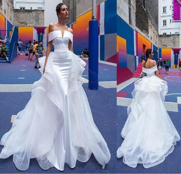 Preciosos vestidos de novia de sirena Berta con tren de organza desmontable Sexy fuera del hombro Vestido de novia de playa Vestidos de novia por encargo