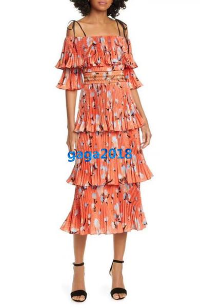 women girls strappy dress floral print slash neck short sleeves a-line tiered mermaid vintage midi skirts high-end fashion luxury dresses
