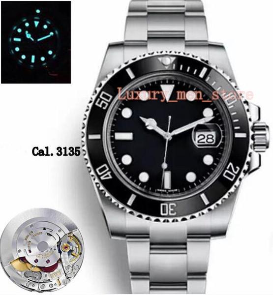 Gold seller Top Upgraded version Mens Automatic Eta 3135 Watch Men Black Ceramic Bezel Luminous Calendar Sapphire Sport Dive watch
