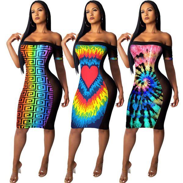 Frauen Designer Mini Kleider Schulterfrei Röcke Plaid Herz Print Sheer Kleid Sexy Bodycon Nachtclub Kleidung Plus Größe S-2XL