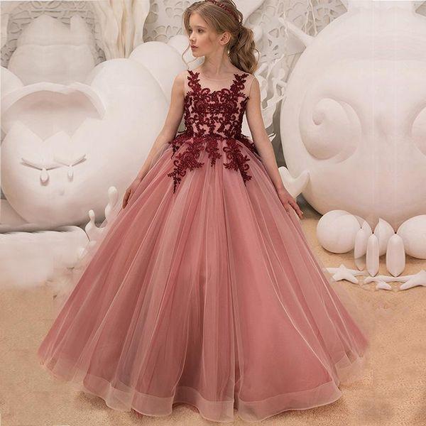 Roupa flor rosa vestido Tutu Meninas casamento Cerimônias Vestido Infantil Princesa elegante formal do partido vestido para meninas adolescentes