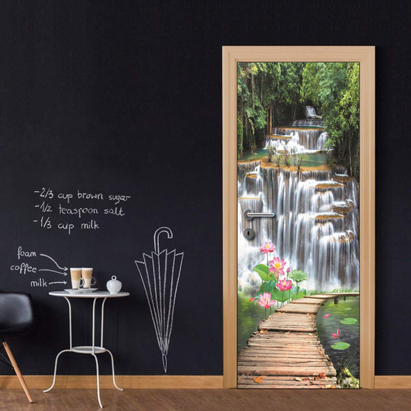 Wholesales DIY Door Sticker Waterfall Bridge Door Decal for Bedroom Living Room wallpapers Decal home accessories