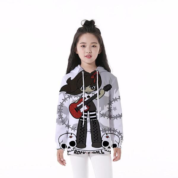 Kids Hoodie Guitar Girl Skull 3D Digital Full Printed Long Sleeves Unisex Hooded Sweatshirts Children Casual Boy Girl Hoodies (RLCLM-55117)