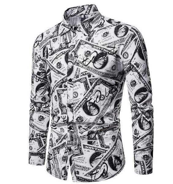 Mens Summer Dress Shirts Casual Male refreshing Oxford US dollar printed long-sleeved shirt