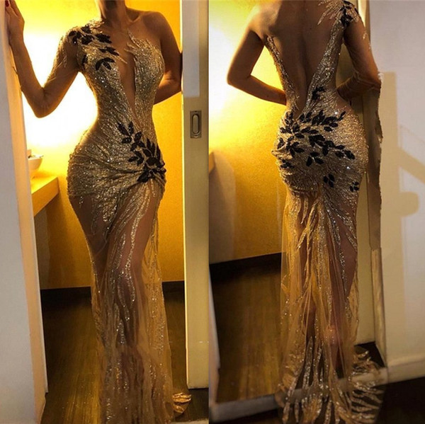 Sexy Sequin Mermaid Prom Dresses 2019 Gold Sheer One Shoulder Sleeve Long Sleeve Lace Applique Sweep Train Formal Evening Gowns BC0954