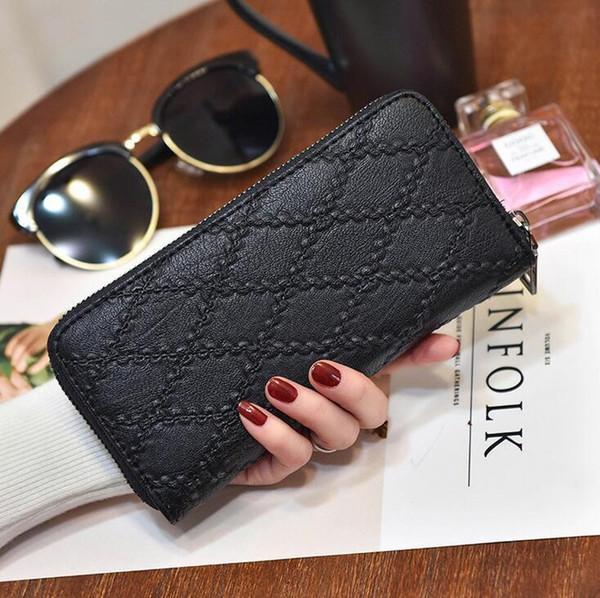 Kundenspezifische Markentaschen modische dreidimensionale geprägte Damenbrieftaschen einfache Plaid Plaid Brieftasche große Kapazität Leder lange Brieftasche