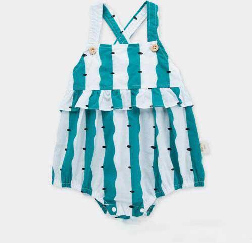 baby kids designer clothes romper Summer Sleeveless Stripped Suspender Romper Clothes 100% cotton girl kid rompers 0-2T