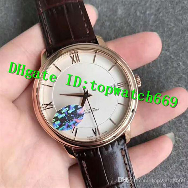 MKF New Luxury Watch Swiss 2500 Automatic Sapphire Crystal 18K Rose Gold Case White Dial Brown Leather Strap Solid Case Back Mens Watch