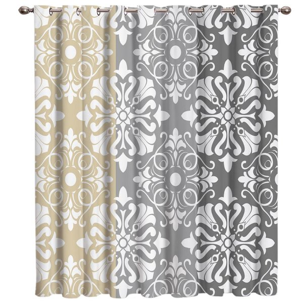 Classical European Pattern Ethnic Beige Grey Room Curtains Large Window Window Curtains Dark Curtain Rod Blackout Bed