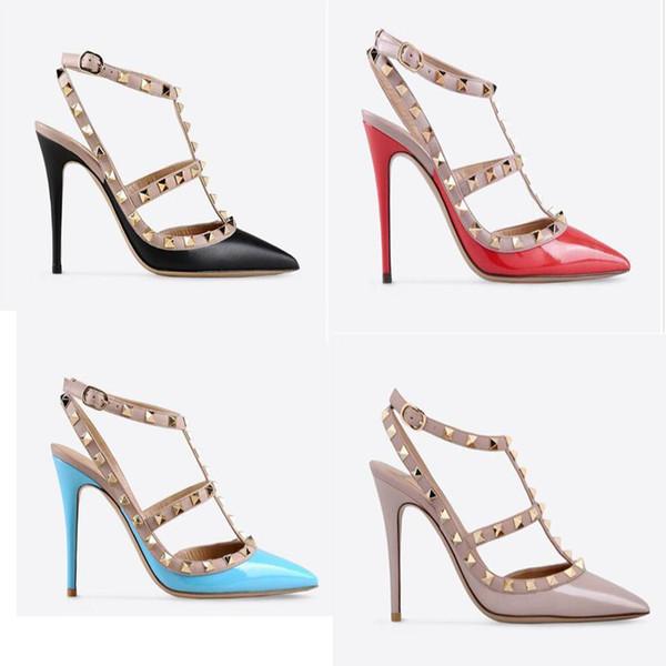 Ücretsiz alışveriş Çiviler ile 2-Strap Sivri Burun yüksek topuklu Patent Deri perçinler Sandalet Kadın Ayakkabı sevgililer yüksek topuk Ayakkabı