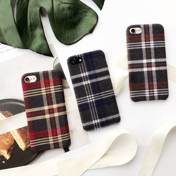 Vintage Plaid Phone Case For iPhone 6 Grid Cloth Cases for iPhone 6 6s 7 8 Plus X Fabric Plush C Cover