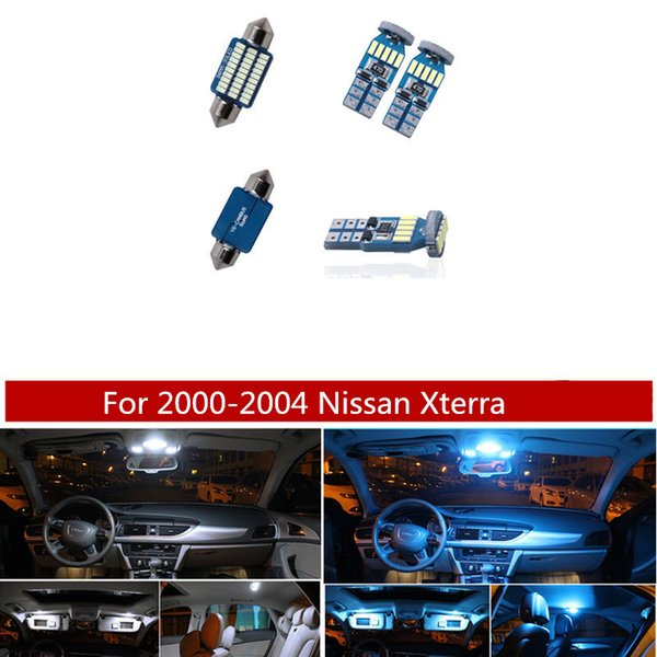 8Pcs White Ice Blue Canbus LED Lamp Car Bulbs Interior Package Kit For 2000-2004 Nissan Xterra Map Dome Plate Light
