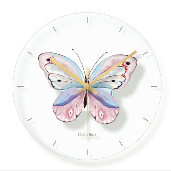 Wall clock Minimalist quartz watch flower butterfly painting Wall Clocks Home Decoration Living Room Silent 12 inch