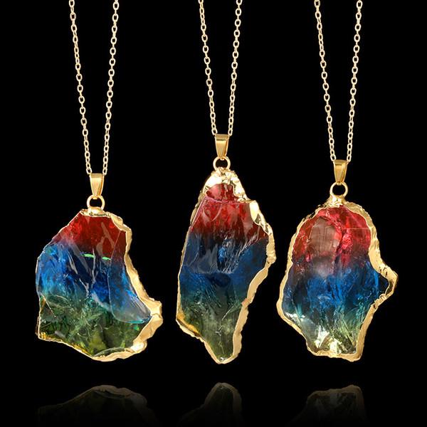 Neue Natürliche Kristall Quarz Healing Chakra Halskette Multi Farbe Original Natürlichen Edelstein Anhänger Halsketten Schmuck Ketten für Frauen Männer
