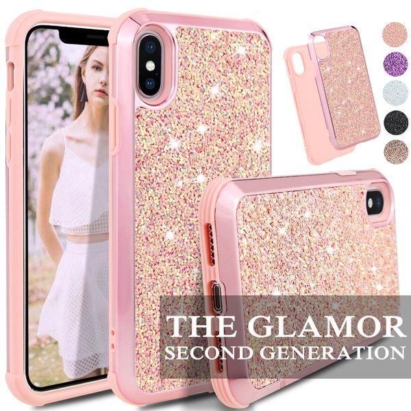 Glamour 2 1 İnce Hibrid Glitter Vaka Için iPhone x xr xs max 8 7 6 6 S için Koruyucu kapak Artı
