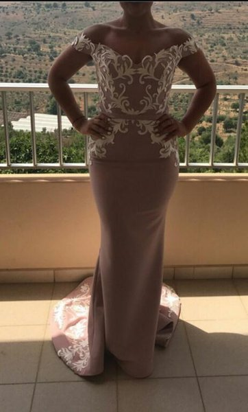Evening dress Long dress Short sleeve Off-Shoulder Backless Chiffon Mermaid Classic Customizable in any size Modern 1198