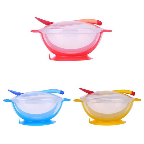 Set di alimentazione 3 pezzi Set di posate per bambini Kit di cucchiai per ciotola a prova di goccia di resistenza goccia blu \ giallo \ rosa Ciotola + coperchio + cucchiaio Cura del bambino