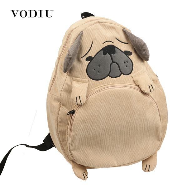 Women Backpack Schoolbag Canvas Cute Dog Fox Ear Embroidery Corduroy Backpack Female Vintage Notebook Backpack For Girls School Y19061004