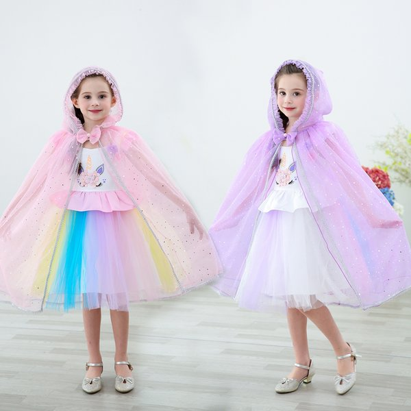 Halloween Robe Cloak Sequin Hooded Cape Kids Cosplay Costume Clothes Cartoon Bowknot Capes Princess Veil Birthday Party Poncho GGA2070