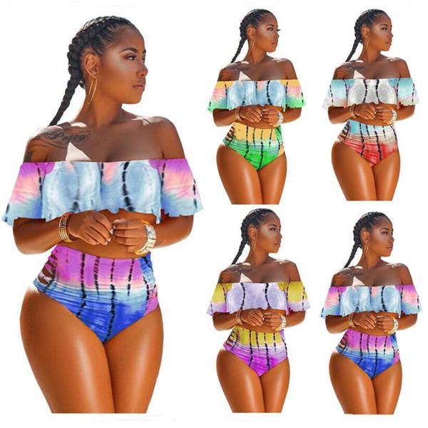 Women Tie-dyed Flouncy Swimsuit Strapless Bikini Top + Hipster 2 Piece Swimwear Gradient Color Off Shoulder Falbala Ruffle Swimsuits A353