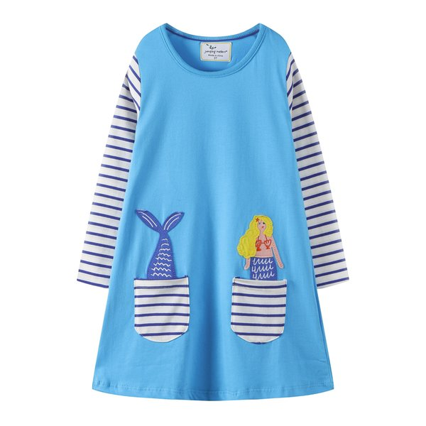 America Pocket Striped Floral Animal vetements pour enfants Kids Girls Dress Children Girls Knee-length A-line Cotton Baby Girls Dress