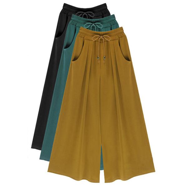 Verão Plus Size M-4xl 5xl 6xl Mulheres Casual Solto Calças de Harém Perna Larga Palazzo Culottes Trecho Calças Femininas Roupas C19041603