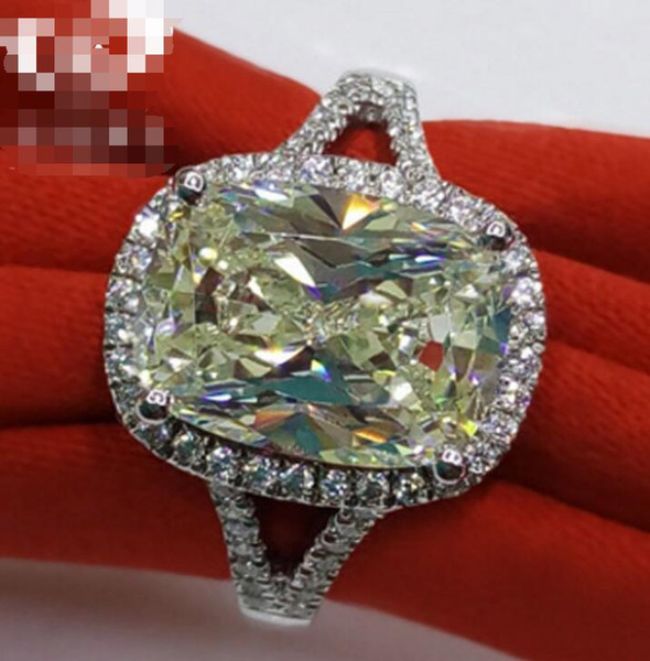 3.85 CT Solid 925 Sterling Silver Wedding Anniversary Moissanite SONA Yellow Diamond Ring Engagement BAND Fine Jewelry Men Women