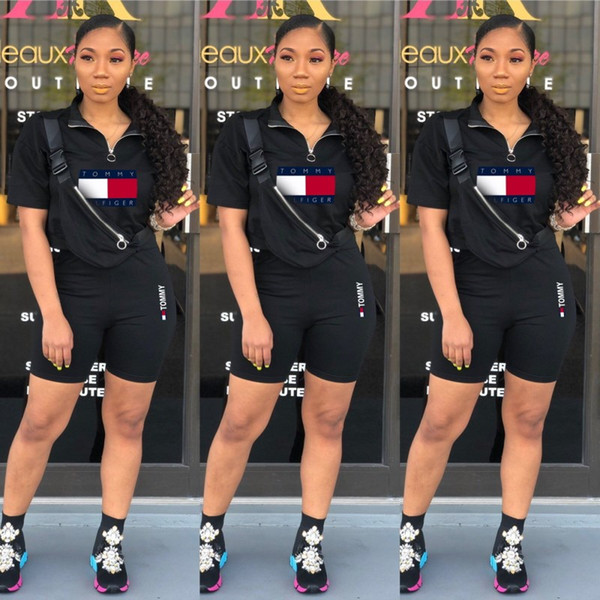 best selling Women summer clothes shorts outfits two piece set jogging sport suit sweatshirt tight sport suit pullover top shorts suit klw0934
