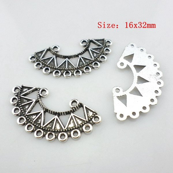 100pcs Tibetan Silver 16x32mm 2-11 hole Connector Pendant Earring Necklace Charm Beads Jewelry DIY Crafts Accessories