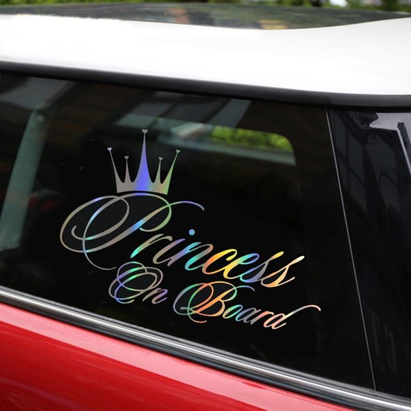 Auto Aufkleber Prinzessin Baby An Bord 16,5 * 10,9 CM Lustige Auto Aufkleber Reflektierende Laser Vinyl Aufkleber 3D Styling Schwarz Silber